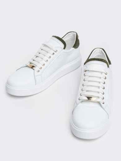 Низкие кеды с контрастными вставками белые - 21424, фото 3 – интернет-магазин Dressa
