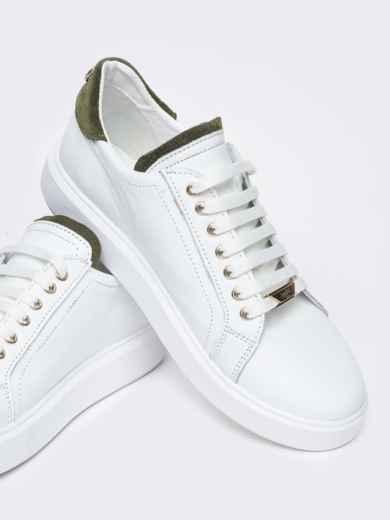 Низкие кеды с контрастными вставками белые - 21424, фото 4 – интернет-магазин Dressa