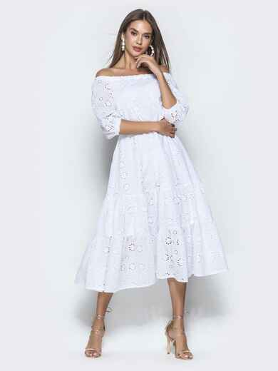 Платье-макси из прошвы с вырезом и манжетами на резинке белое 40132, фото 1