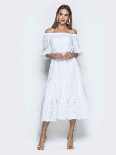 Платье-макси из прошвы с вырезом и манжетами на резинке белое - 40132, фото 2 – интернет-магазин Dressa