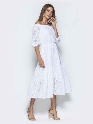Платье-макси из прошвы с вырезом и манжетами на резинке белое - 40132, фото 4 – интернет-магазин Dressa