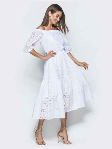 Платье-макси из прошвы с вырезом и манжетами на резинке белое - 40132, фото 5 – интернет-магазин Dressa