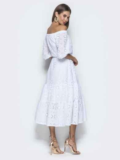 Платье-макси из прошвы с вырезом и манжетами на резинке белое - 40132, фото 6 – интернет-магазин Dressa