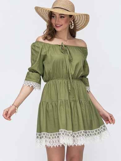Платье-мини с открытой линией плеч цвета хаки 48134, фото 1