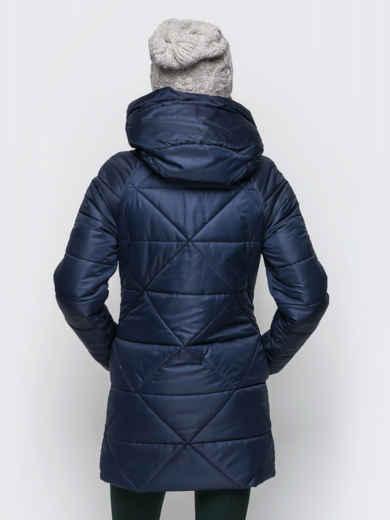 Тёмно-синяя зимняя куртка с застёжкой на молнии 15238, фото 2
