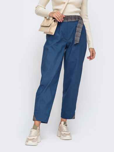 Укороченные брюки-бананы со стандартной посадкой синие 50576, фото 1