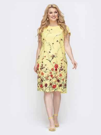 Желтое платье батал с цветочным принтом 46422, фото 1