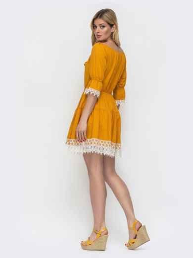Желтое платье-мини с открытой линией плеч 48133, фото 2