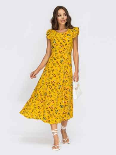 Желтое платье с оригинальным вырезом по спинке 54009, фото 1