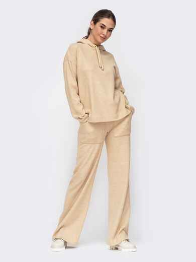 Бежевый костюм из худи и широких брюк 52699, фото 1