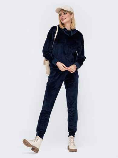 Брючный костюм из велюра с кофтой тёмно-синий 53057, фото 1
