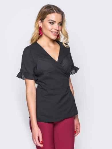 Черная блузка на запах и рукавами с оборкой - 15033, фото 2 – интернет-магазин Dressa
