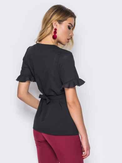 Черная блузка на запах и рукавами с оборкой - 15033, фото 3 – интернет-магазин Dressa