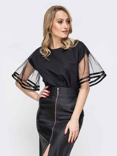 Чёрная блузка с рукавами-колокол из сетки 45673, фото 1