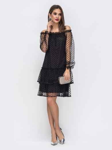 Чёрное платье с открытыми плечами и многоярусной юбкой - 43036, фото 2 – интернет-магазин Dressa