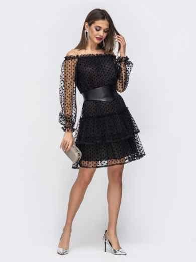 Чёрное платье с открытыми плечами и многоярусной юбкой - 43036, фото 3 – интернет-магазин Dressa