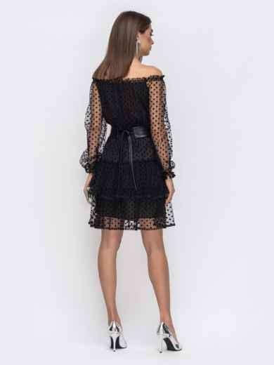 Чёрное платье с открытыми плечами и многоярусной юбкой - 43036, фото 4 – интернет-магазин Dressa
