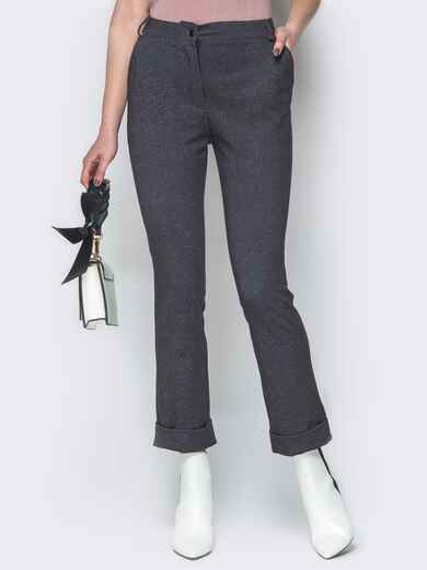 Чёрные брюки с подворотами и шлицами 19419, фото 1
