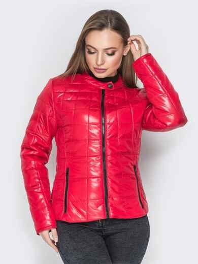 Демисезонная куртка красного цвета без воротника 20226, фото 1