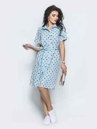 Голубое платье-рубашка прямого кроя из крепдешина - 12569, фото 1 – интернет-магазин Dressa