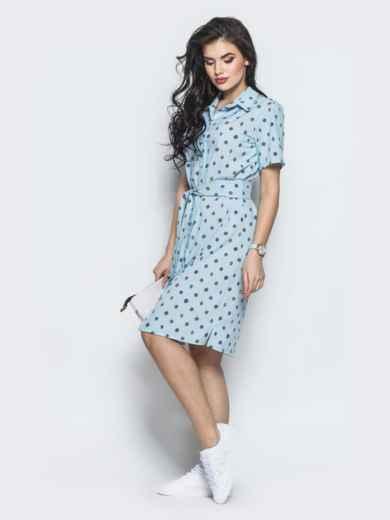 Голубое платье-рубашка прямого кроя из крепдешина - 12569, фото 2 – интернет-магазин Dressa