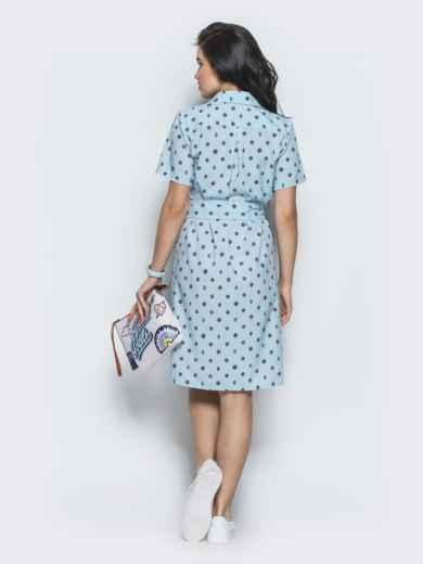 Голубое платье-рубашка прямого кроя из крепдешина - 12569, фото 3 – интернет-магазин Dressa