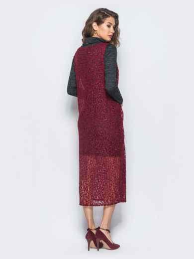Комплект с сарафаном из гипюра бордового цвета - 17936, фото 2 – интернет-магазин Dressa