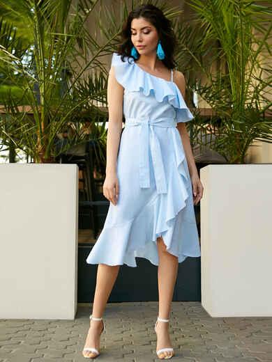 Платье на одно плечо в полоску с широким воланом - 11492, фото 1 – интернет-магазин Dressa