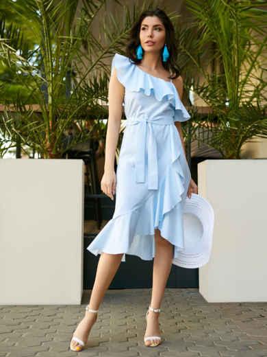 Платье на одно плечо в полоску с широким воланом - 11492, фото 2 – интернет-магазин Dressa