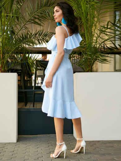 Платье на одно плечо в полоску с широким воланом - 11492, фото 3 – интернет-магазин Dressa