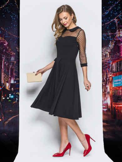 Платье с расклешенной юбкой и кокеткой из фатина черное - 18195, фото 2 – интернет-магазин Dressa