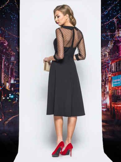 Платье с расклешенной юбкой и кокеткой из фатина черное - 18195, фото 3 – интернет-магазин Dressa