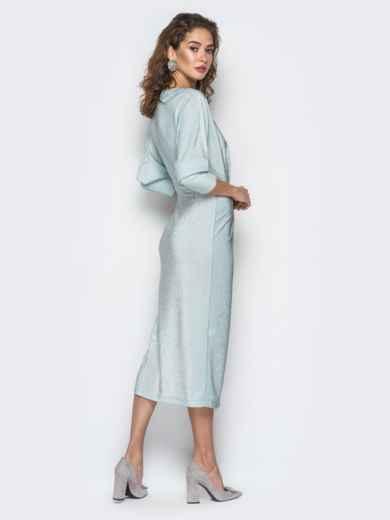 """Платье с вырезом и рукавами """"летучая мышь"""" голубое - 18373, фото 5 – интернет-магазин Dressa"""