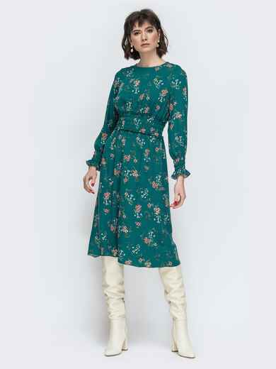 Расклешенное платье с принтом зеленое - 45052, фото 1 – интернет-магазин Dressa