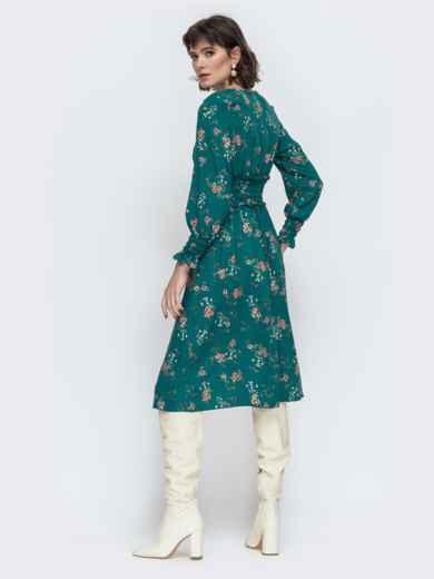 Расклешенное платье с принтом зеленое - 45052, фото 2 – интернет-магазин Dressa