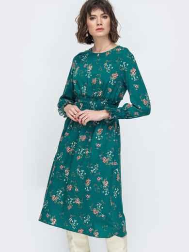 Расклешенное платье с принтом зеленое - 45052, фото 3 – интернет-магазин Dressa