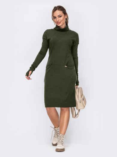 Приталенное платье с высоким воротником хаки 53234, фото 1