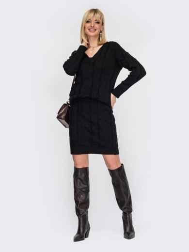 Вязаный костюм из джемпера и юбки черный 53016, фото 1