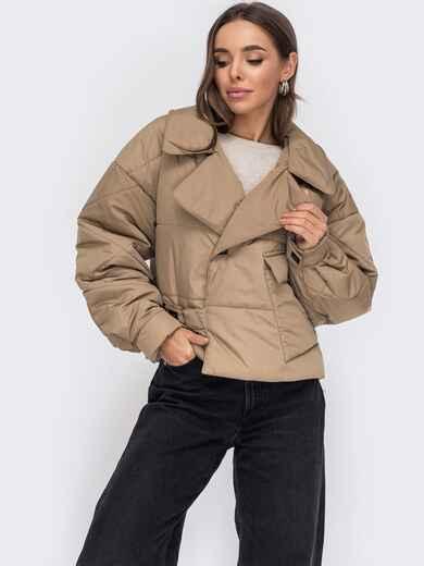 Бежевая короткая куртка на кнопках 53415, фото 1