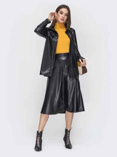 Чёрный комплект из рубашки и юбки из эко-кожи 44944, фото 2