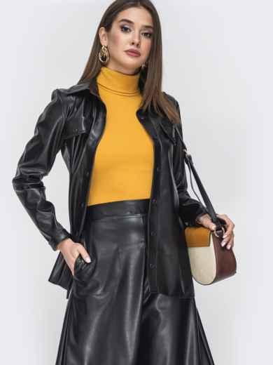 Чёрный комплект из рубашки и юбки из эко-кожи 44944, фото 3