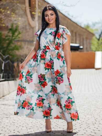 Длинное платье большого размера с цветочным принтом белое 47874, фото 1