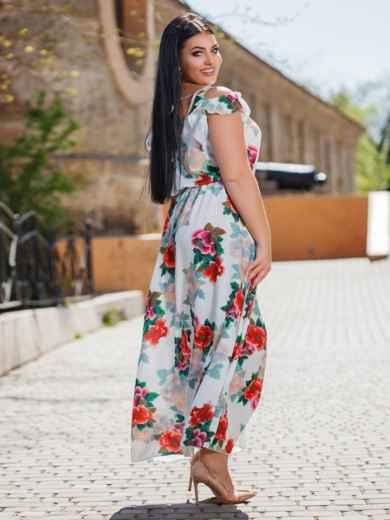 Длинное платье большого размера с цветочным принтом белое 47874, фото 2