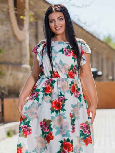 Длинное платье большого размера с цветочным принтом белое 47874, фото 3