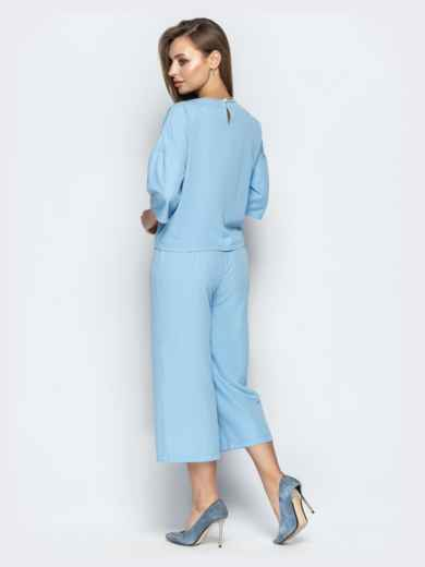 Голубой комплект из топа с рукавом 3/4 и брюк - 20887, фото 2 – интернет-магазин Dressa