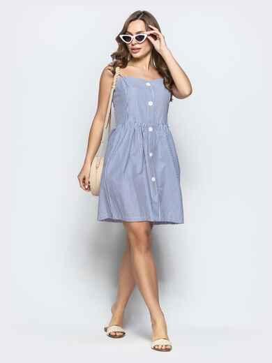 Льняной сарафан в полоску с завышенной талией тёмно-синий - 21569, фото 1 – интернет-магазин Dressa