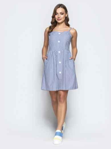 Льняной сарафан в полоску с завышенной талией тёмно-синий - 21569, фото 2 – интернет-магазин Dressa