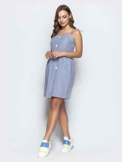 Льняной сарафан в полоску с завышенной талией тёмно-синий - 21569, фото 3 – интернет-магазин Dressa