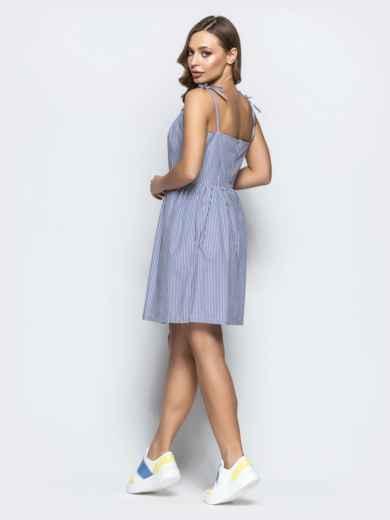 Льняной сарафан в полоску с завышенной талией тёмно-синий - 21569, фото 4 – интернет-магазин Dressa