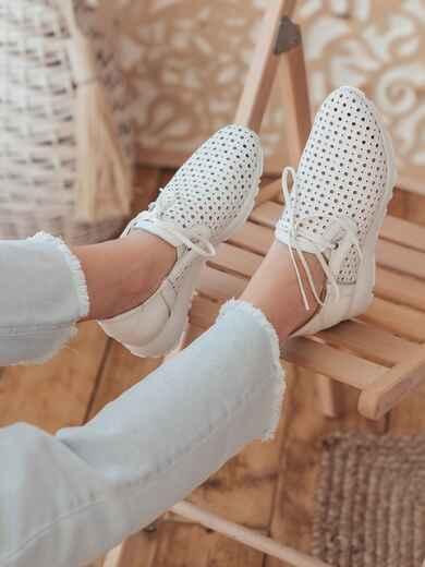 Мокасины из натуральной кожи с перфорацией белые - 47556, фото 1 – интернет-магазин Dressa